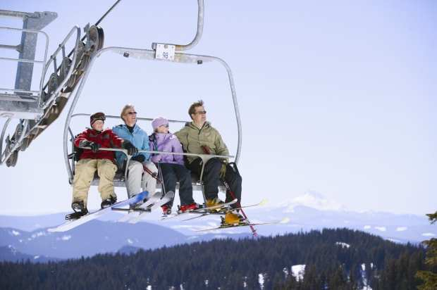 Mom, Dad, and Kids on Ski Lift