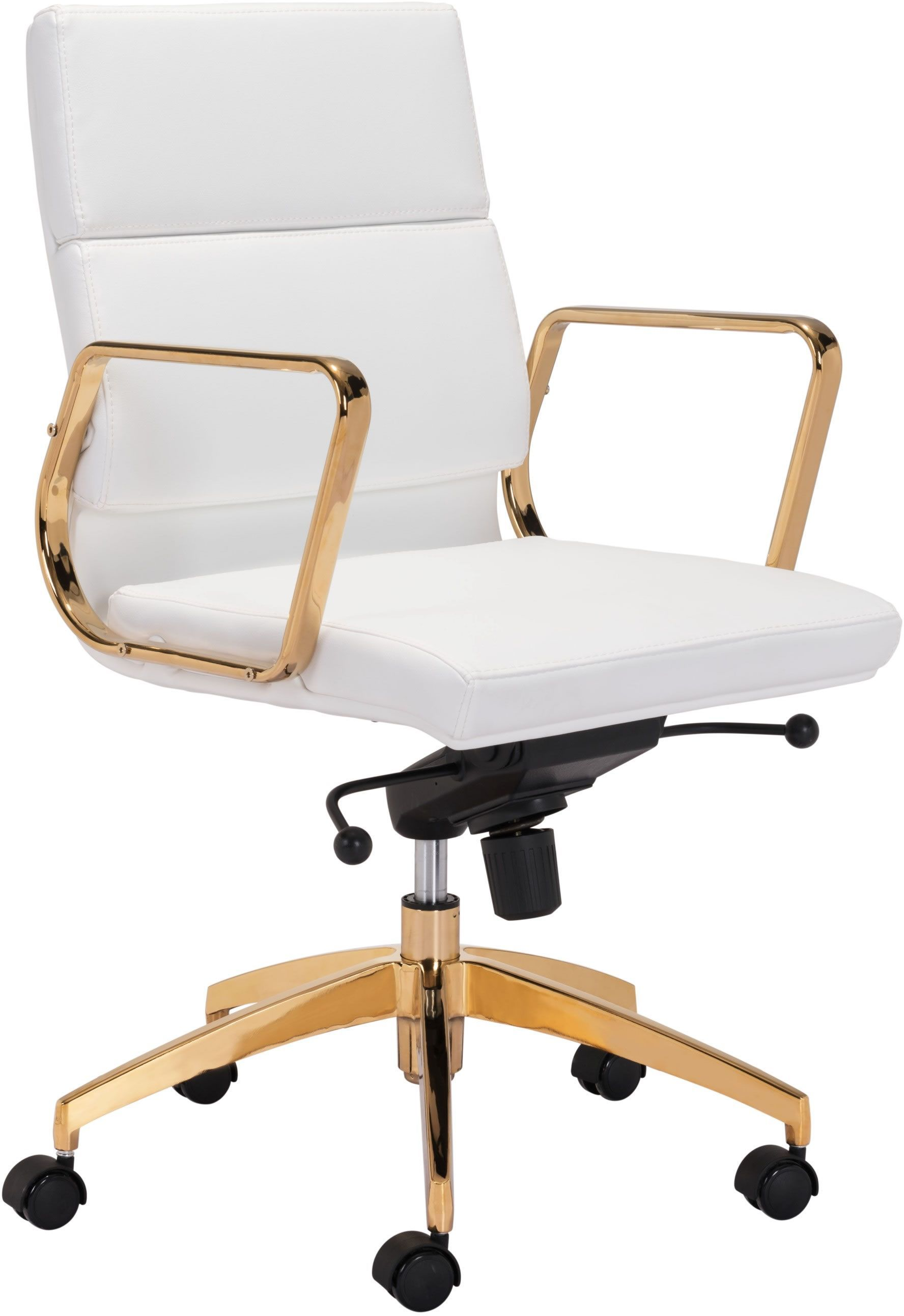 White And Gold Desk Chair Zuo Modern Scientist Low Back Office Chair White And Gold