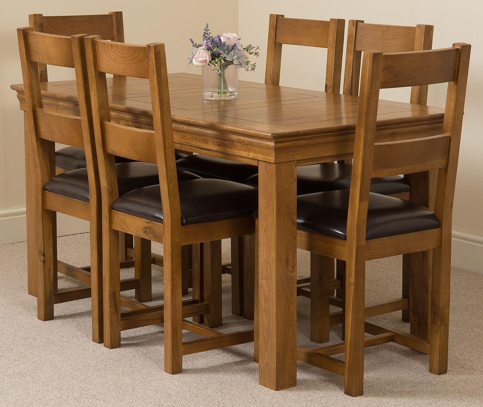 Dining Room Furniture Rustic French Chateau Rustic Oak Dining Table With 6 Brown Lincoln