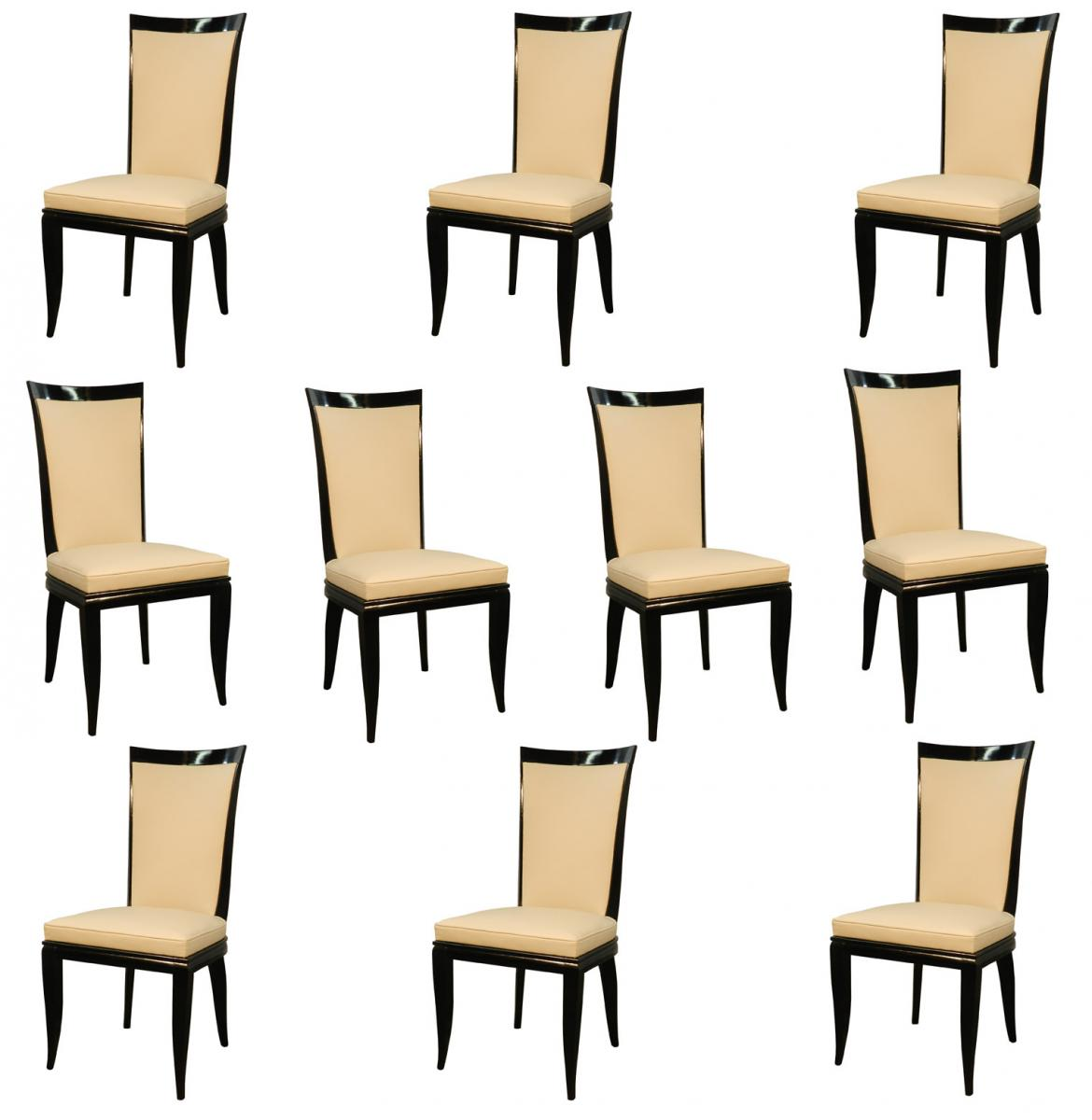 Artistic Dining Chairs Ten French Art Deco Leather And Lacquered Wood Dining
