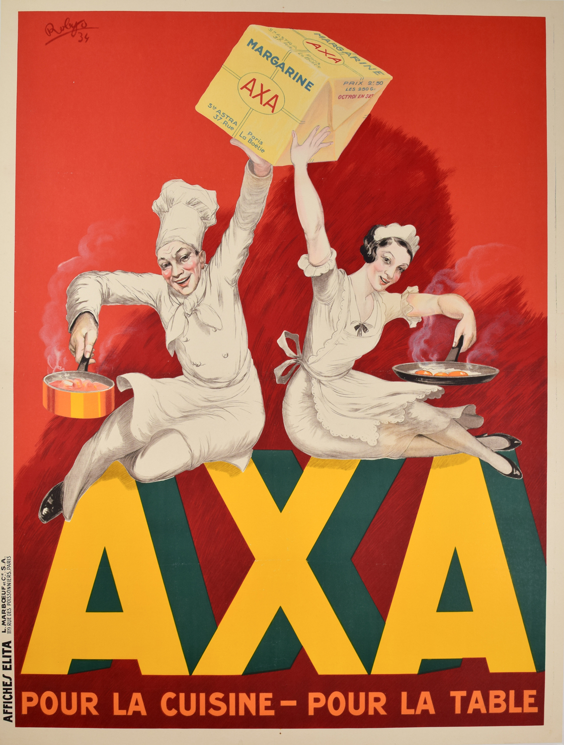 Affiche Deco Cuisine Axa Margarine French Art Deco Poster By Robys Modernism