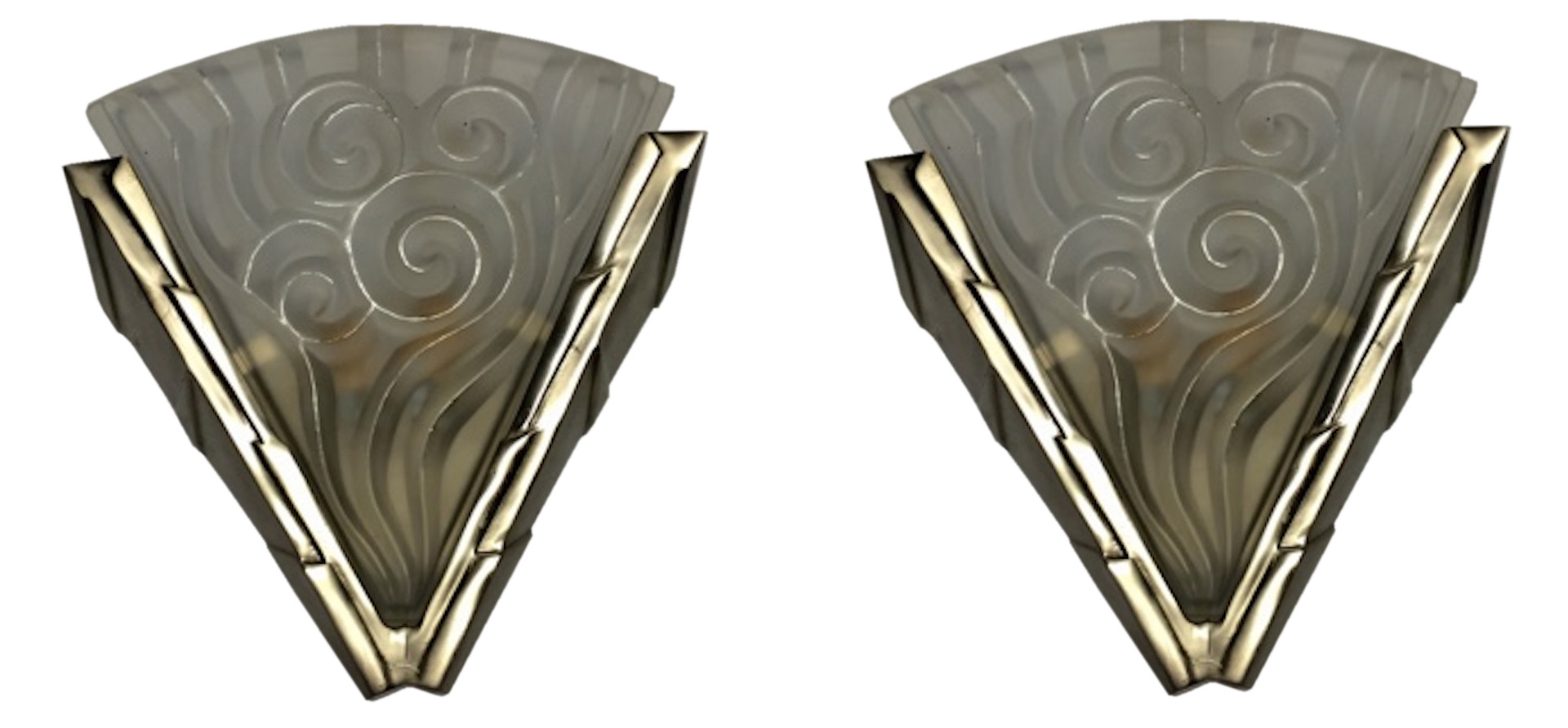 Pair French Art Deco Wall Sconces By Degue