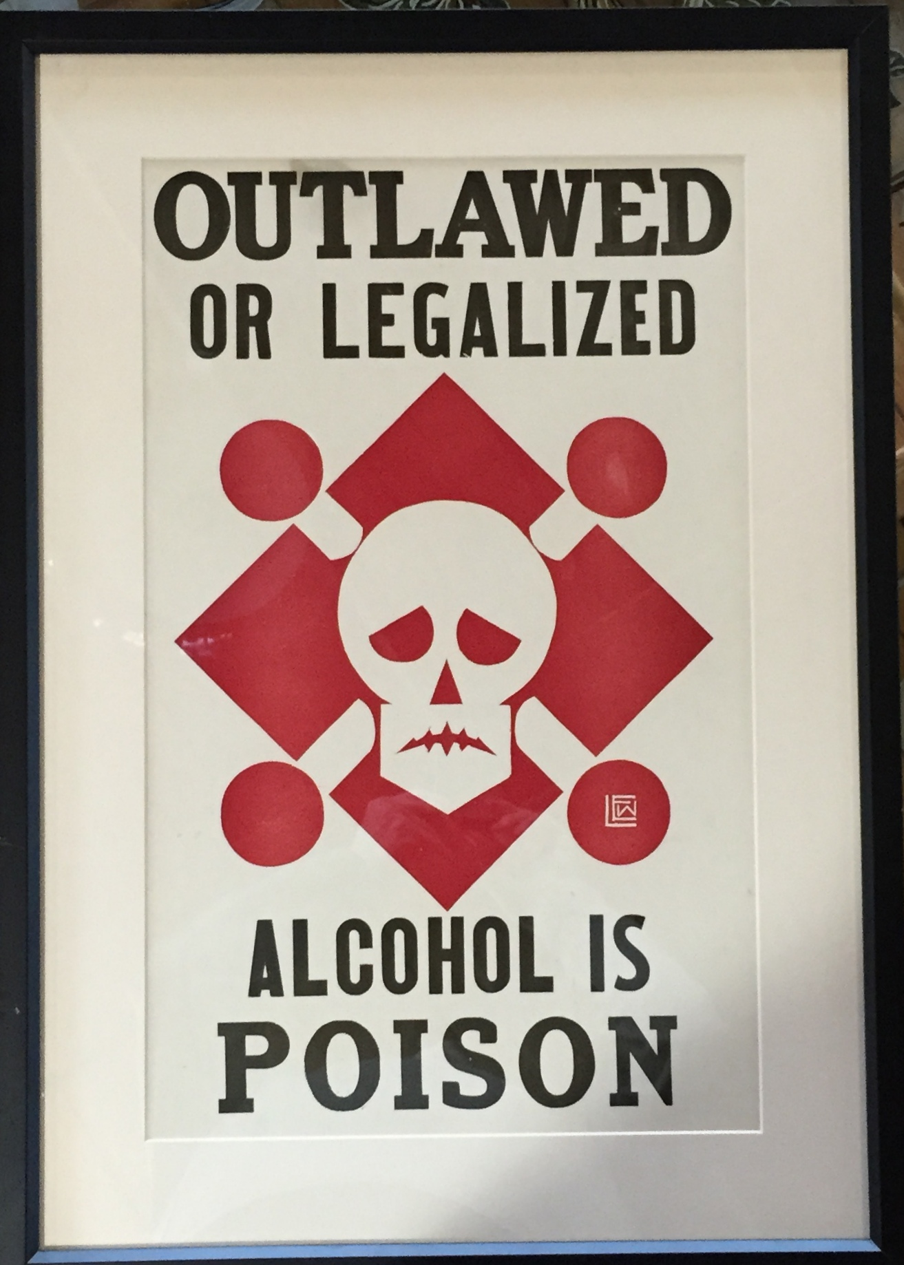Deco Poster Alcohol Is Poison 1920 Vintage Silkscreen Poster | Modernism