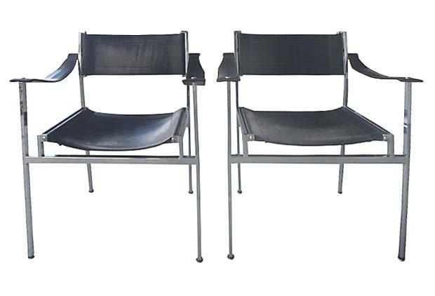 Mid Century Modern Italian Chrome & Leather Chairs