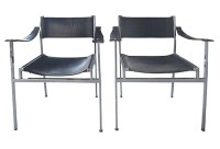 Mid Century Modern Italian Chrome & Leather Chairs | Modernism