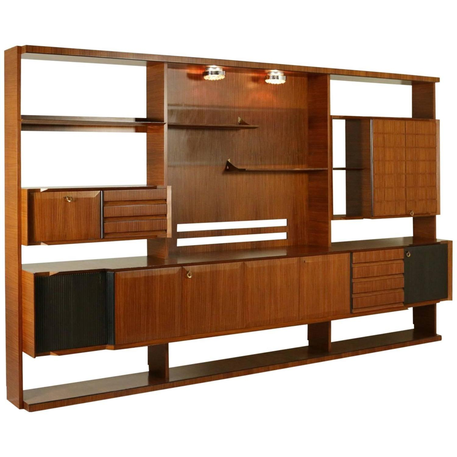 Wall Unit Modern Italian Design Mid Century Modern Wall Unit In Rosewood