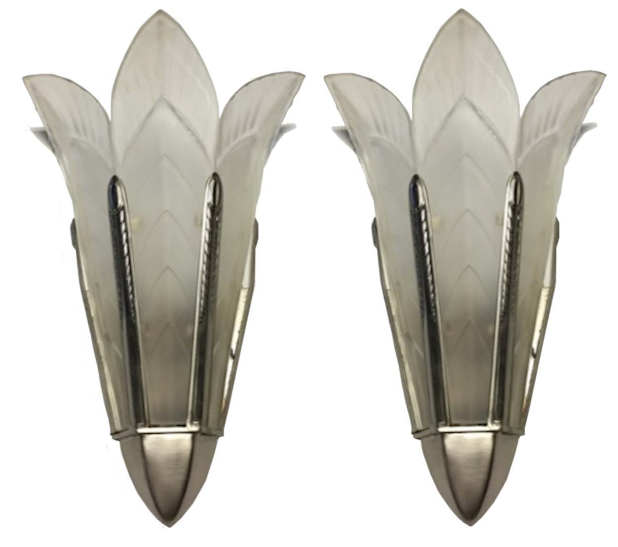 A Pair Of Signed Sabino French Art Deco Wall Sconces