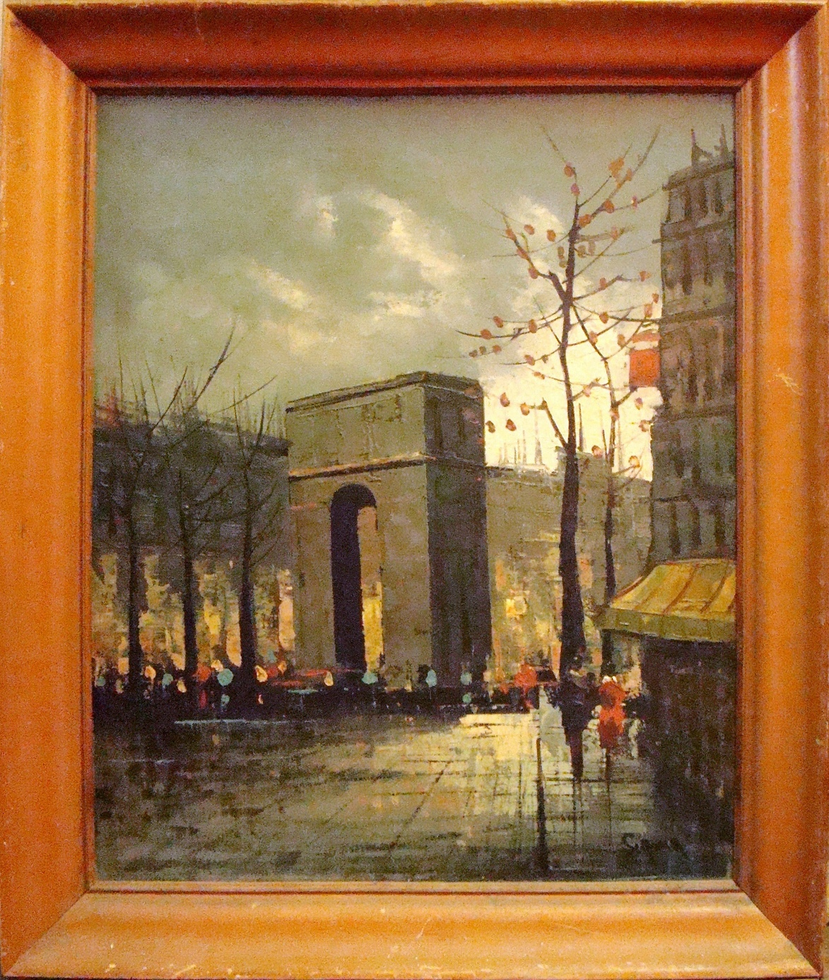 Natural Wood Coffee Table Mid Century Modern Arch Street Scene Oil Painting | Modernism