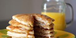 Banana Bisquick Pancakes with Peanut Butter Syrup (Vegan)
