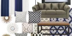Living Room Color Scheme: Sage & Navy