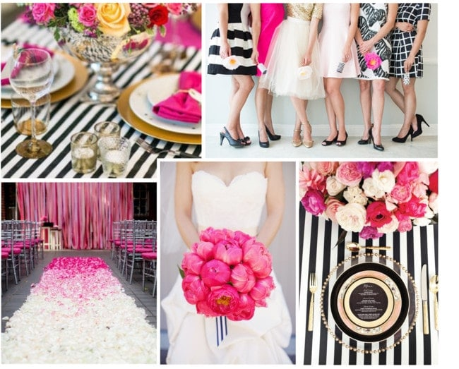 Hot Pink, Black  White Wedding Inspiration Modern Martha - pink black and white weddings
