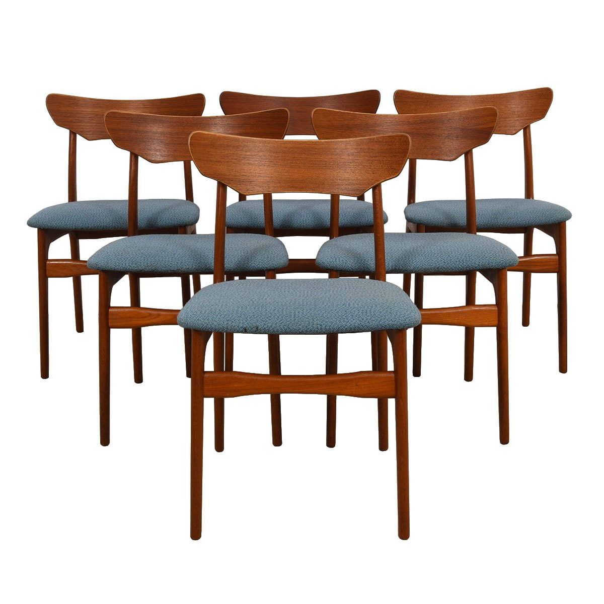 Danish Modern Dining Chairs For Sale Set Of 6 Danish Modern Teak Sculpted Back Dining Chairs