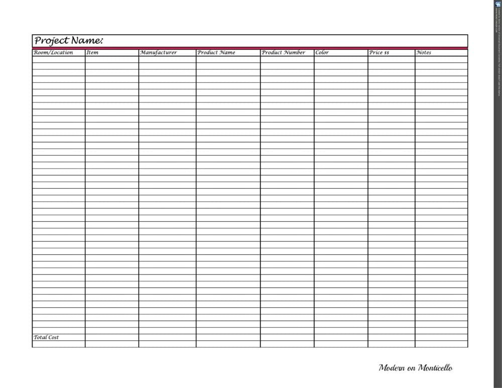 Design Notebook Part 2 Project Schedules  Worksheets - Modern on