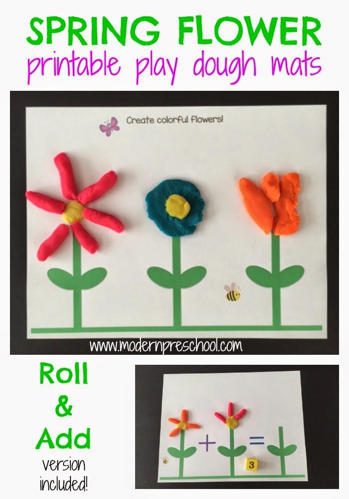 Spring Flower Play Dough Mat Activity