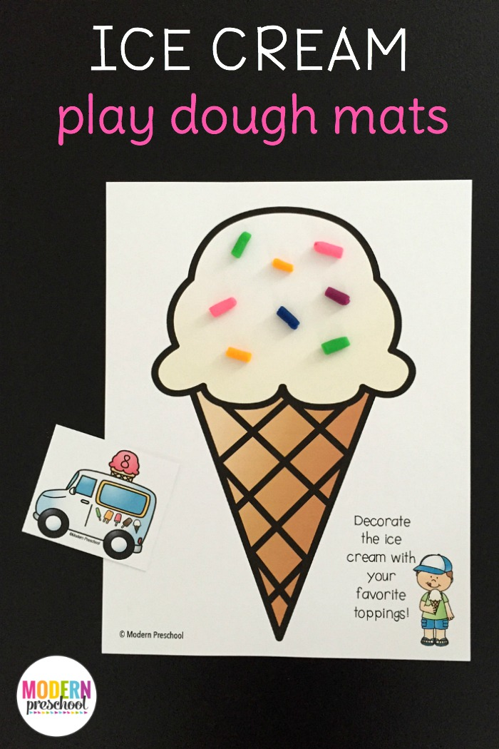 Ice Cream Counting Play Dough Mats