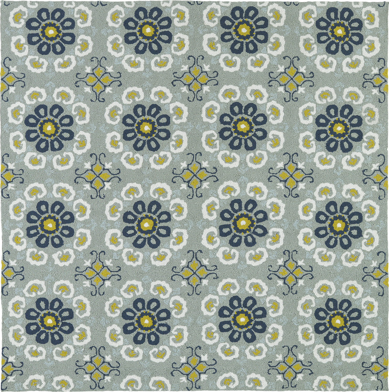 Square Habitat 35 Kaleen Habitat Pewter Green Outdoor Patterned Modern Rug 2 From