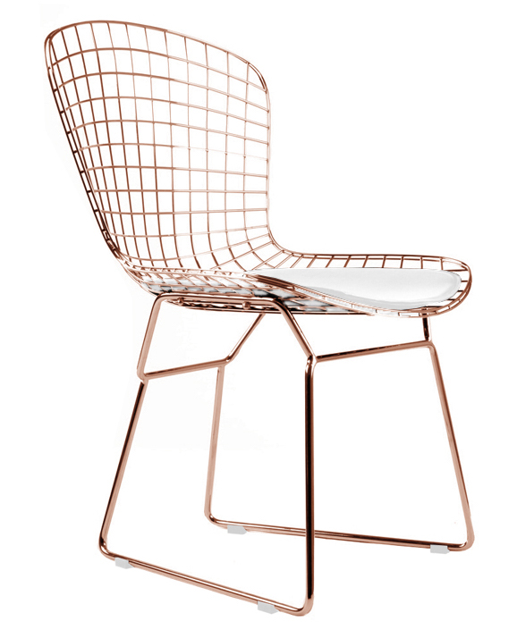 Chaises Bertoia Rose Gold Bertoia Side Chair - Rose Gold Dining Chairs Mid