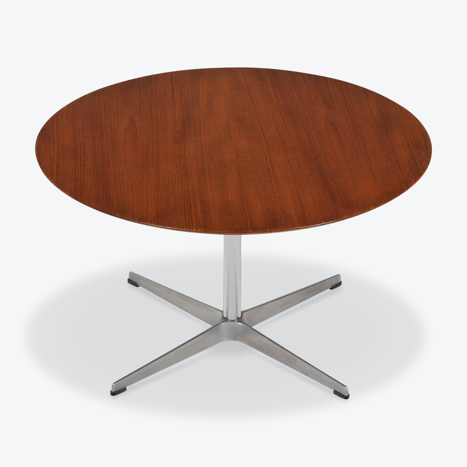 Arne Jacobsen Round Coffee Table In Teak By Arne Jacobsen With Steel Base 1960s Denmark