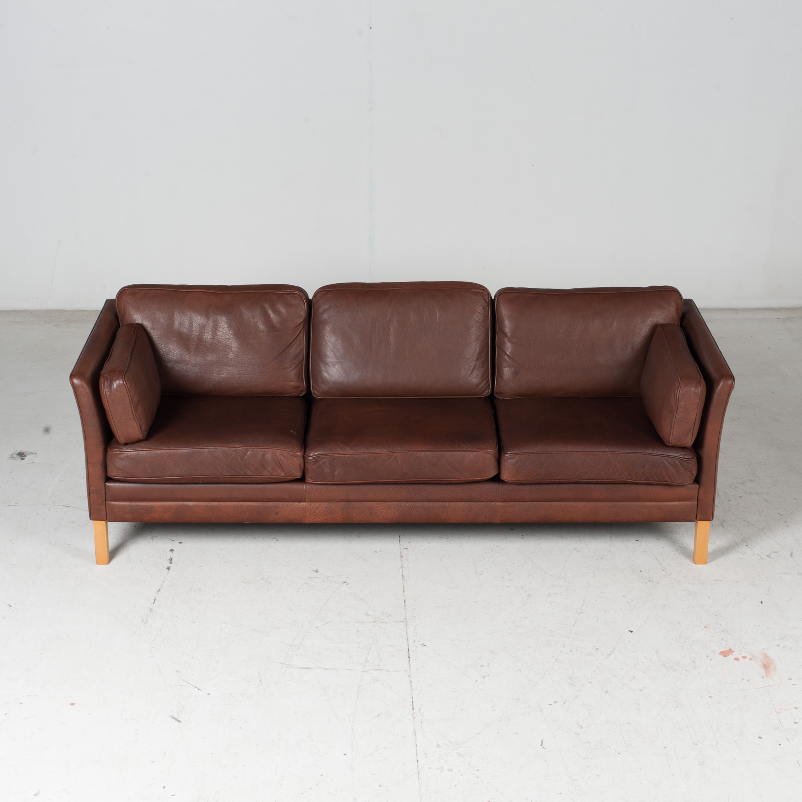 3 Seat Sofa In Brown Leather With Beech Legs 1960s