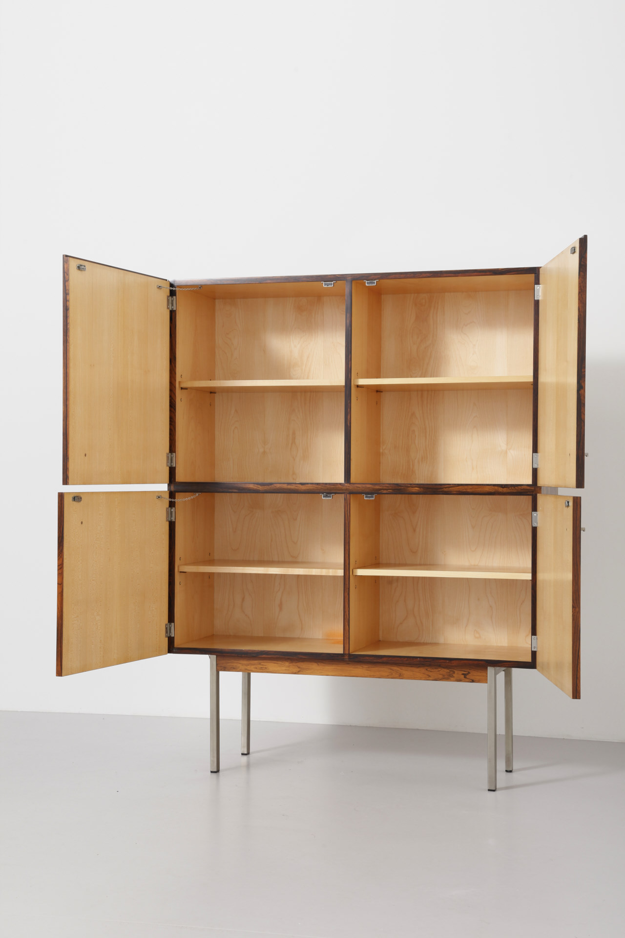 Horst Brüning Cabinet With Metal Legs Hardwood — Archive — Modest Furniture