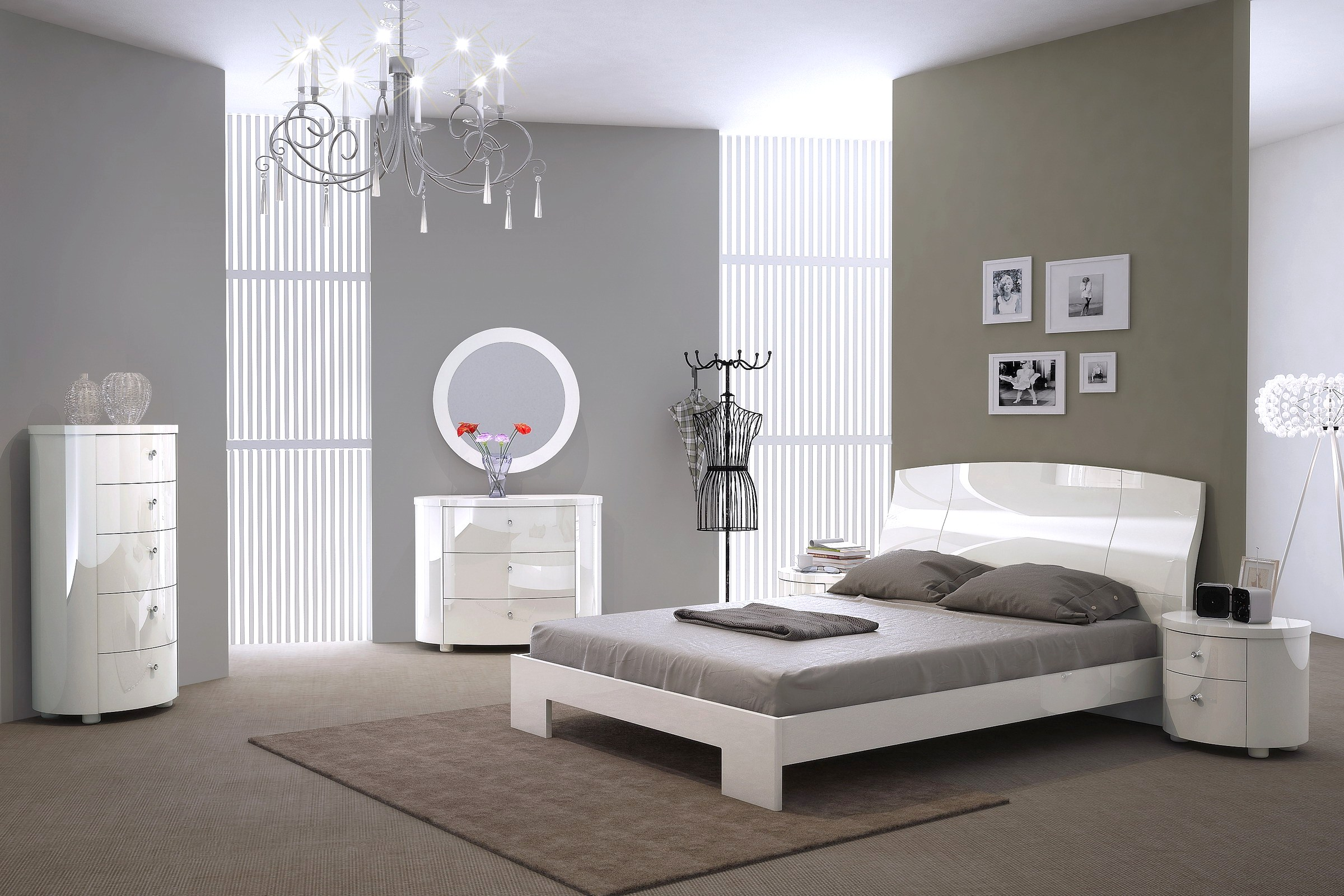 Italian Furniture Bedroom Victoria Italian High Gloss Bed In Pure White