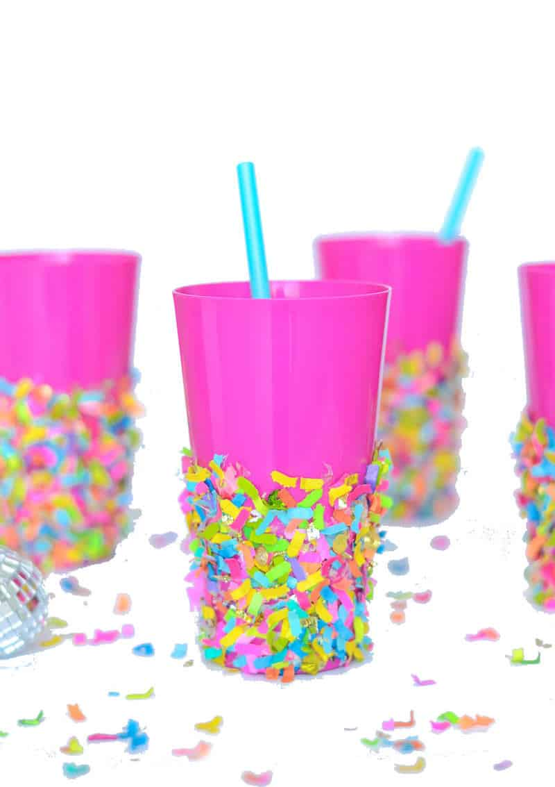 Diy Party Diy Party Cups Dipped In Confetti Mod Podge Rocks