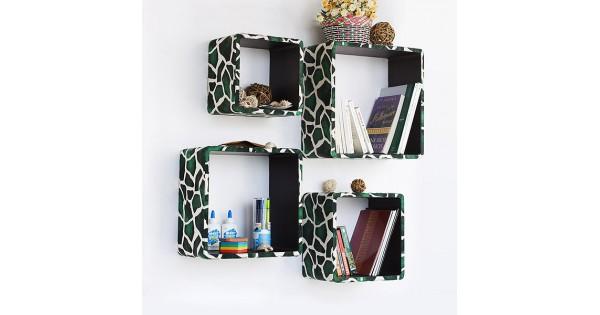 Trista Green Giraffe Square Leather Wall Shelf