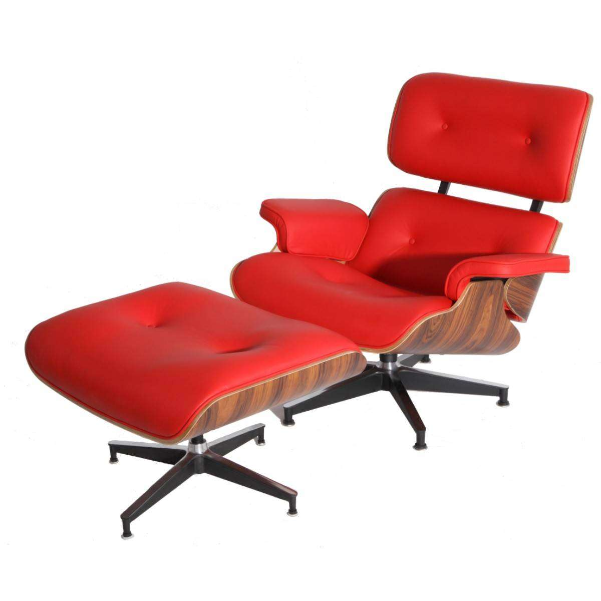 Eames Lounge Chair Reproduction Mod Lounge Chair & Ottoman Red Palisander