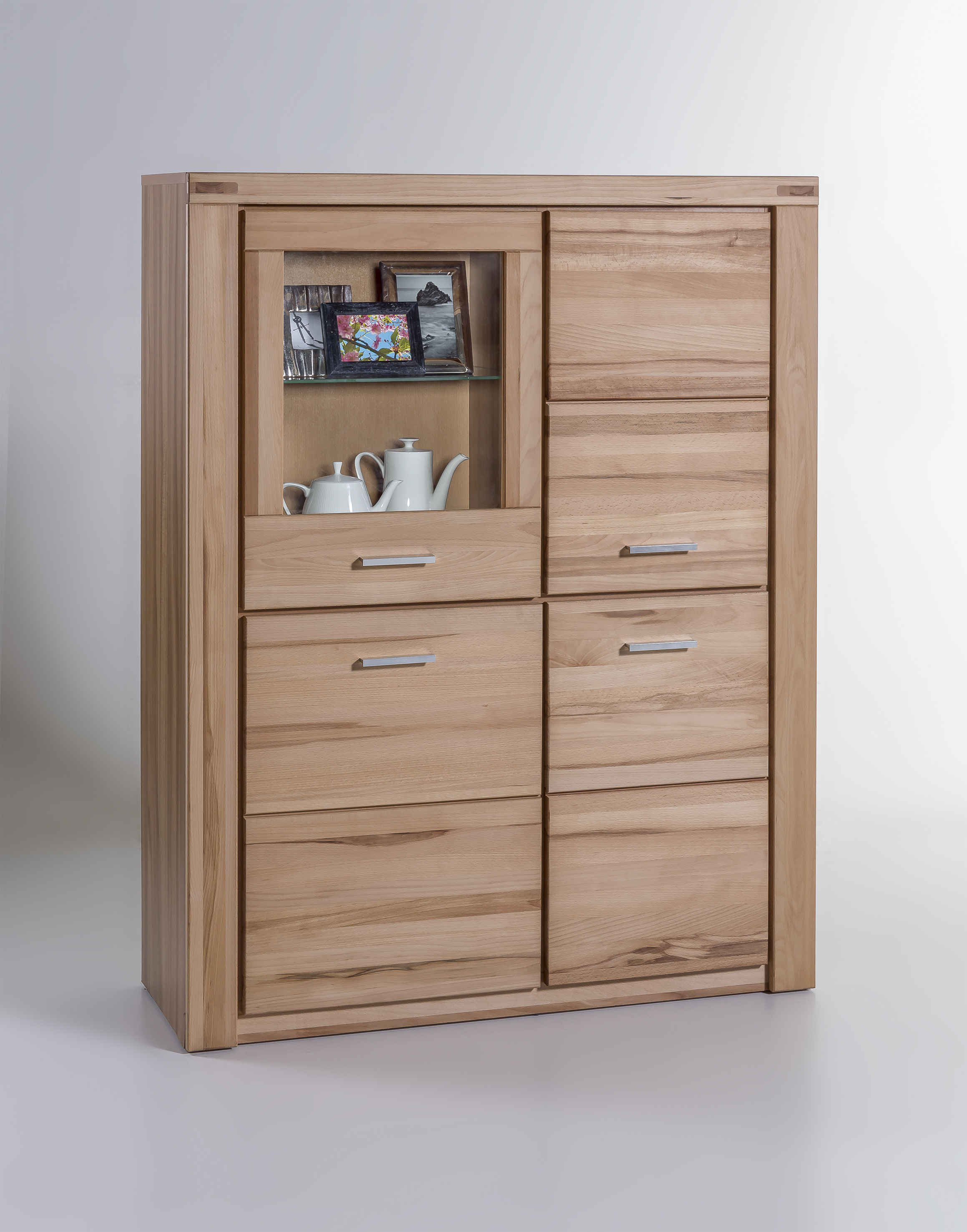 Highboard Kommode Vitrine Highboard Kommode Schrank T6332e Kernbuche Teilmassiv Geölt