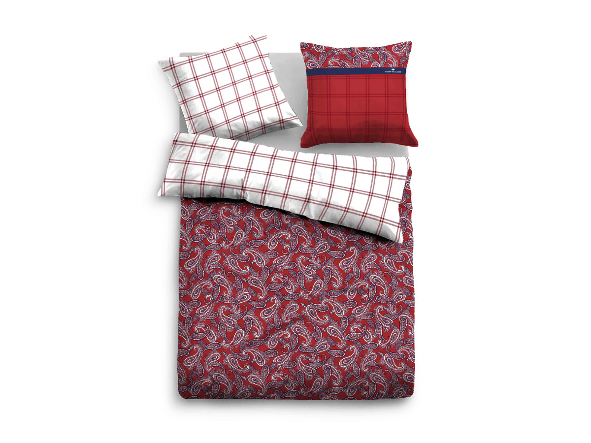 Tom Tailor Bettwäsche 135x200 Tom Tailor Satin Bed Linen 135x200 Cm Rot Gemust