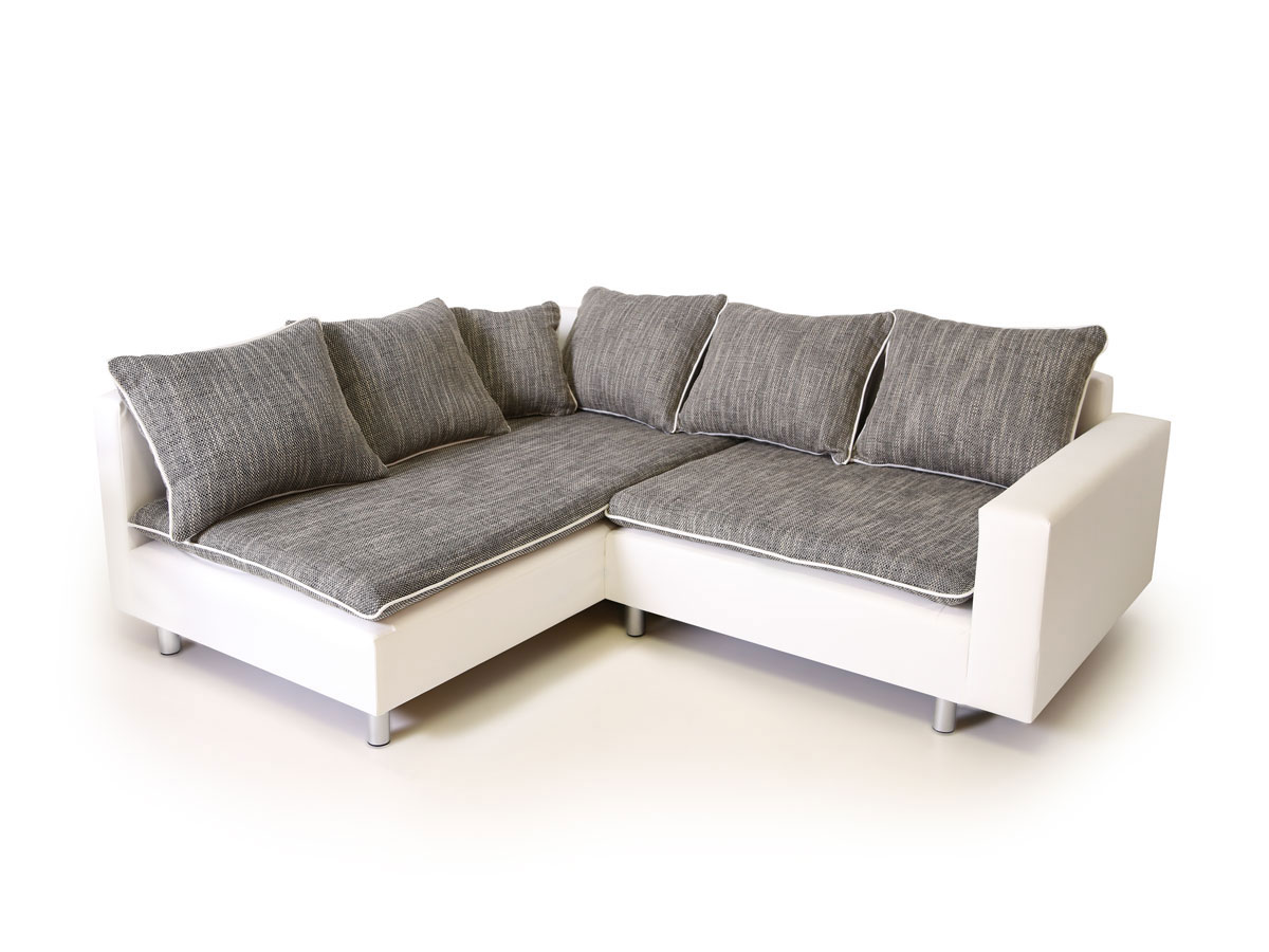 Ecksofa Piano Daggi Ecksofa Sofa Couch Weiss Hellgrau Links