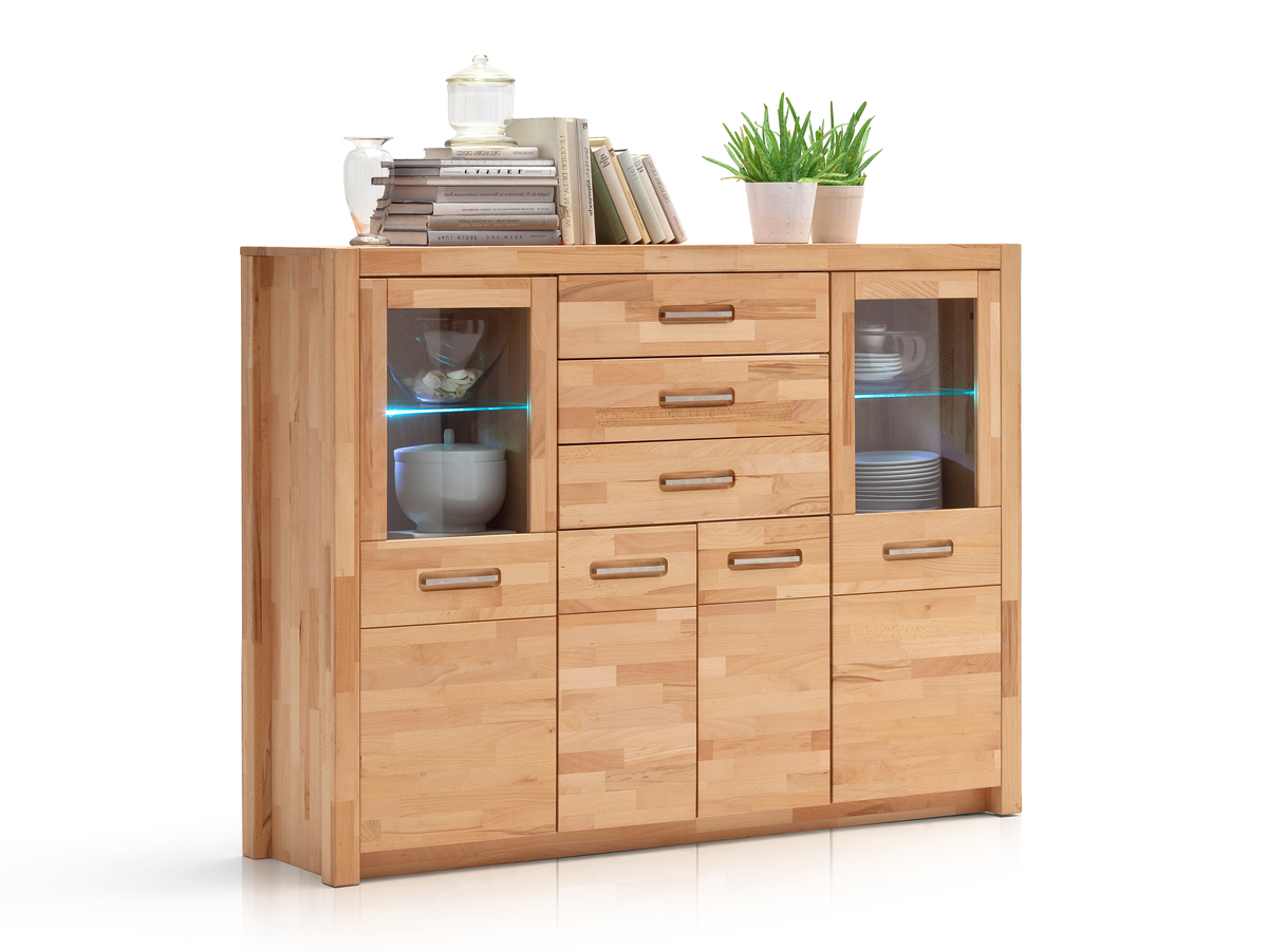 Highboard Buche Fanja Highboard Massivholz Kernbuche Massiv