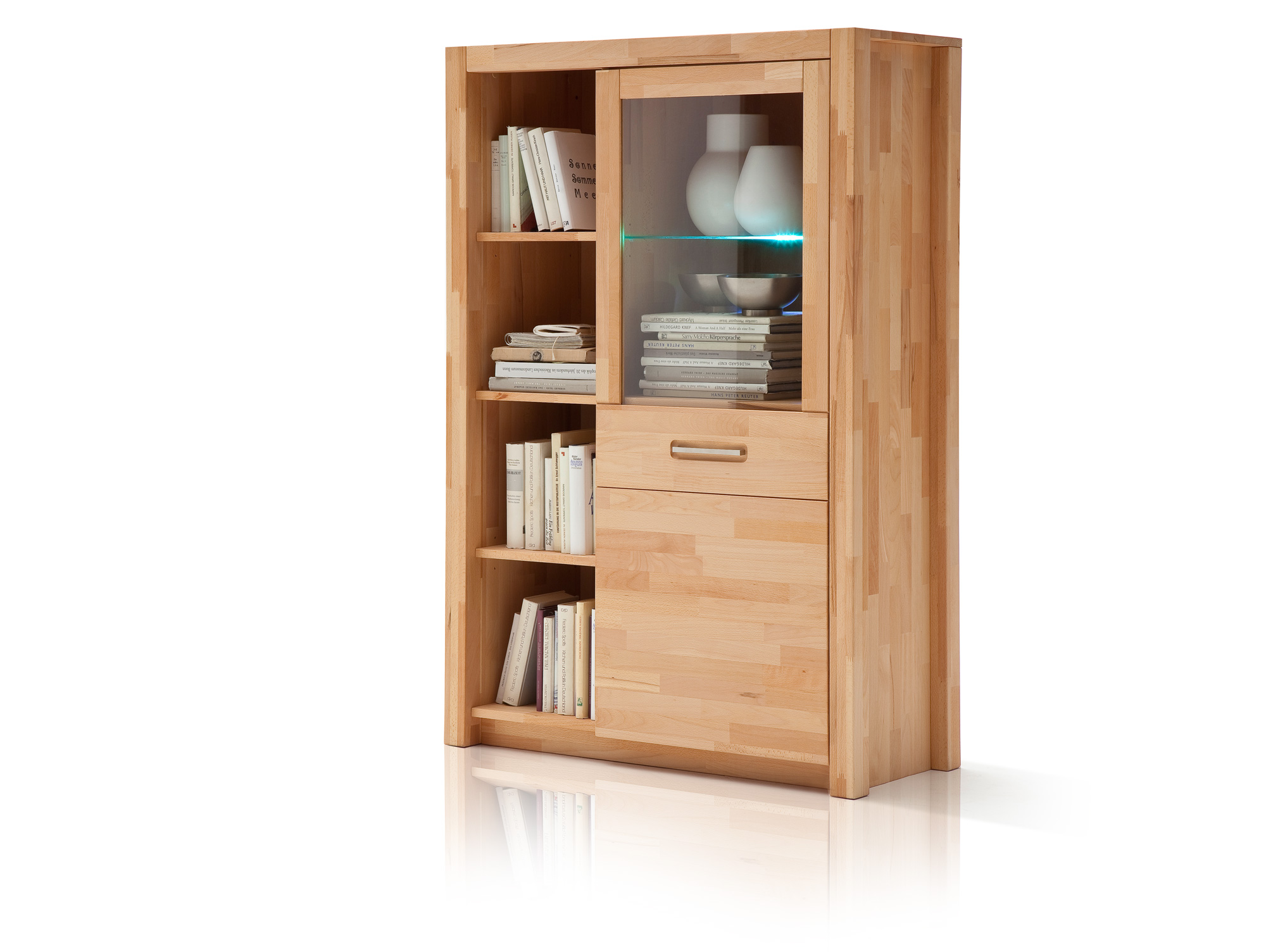 Küchen Highboard Fanja Kombi Highboard Massivholz Kernbuche