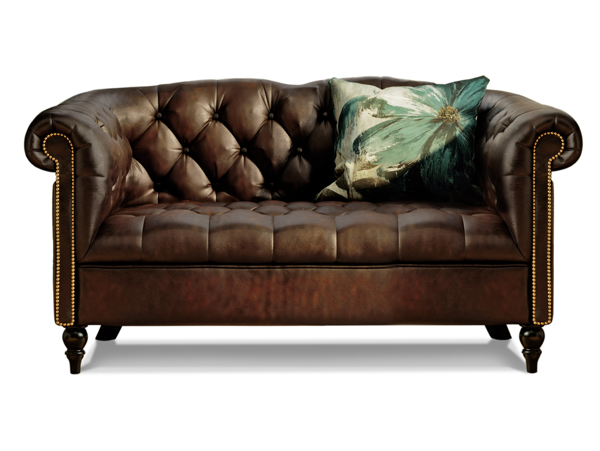 Chesterfield Echtleder 2 Sitzer London Antikbraun