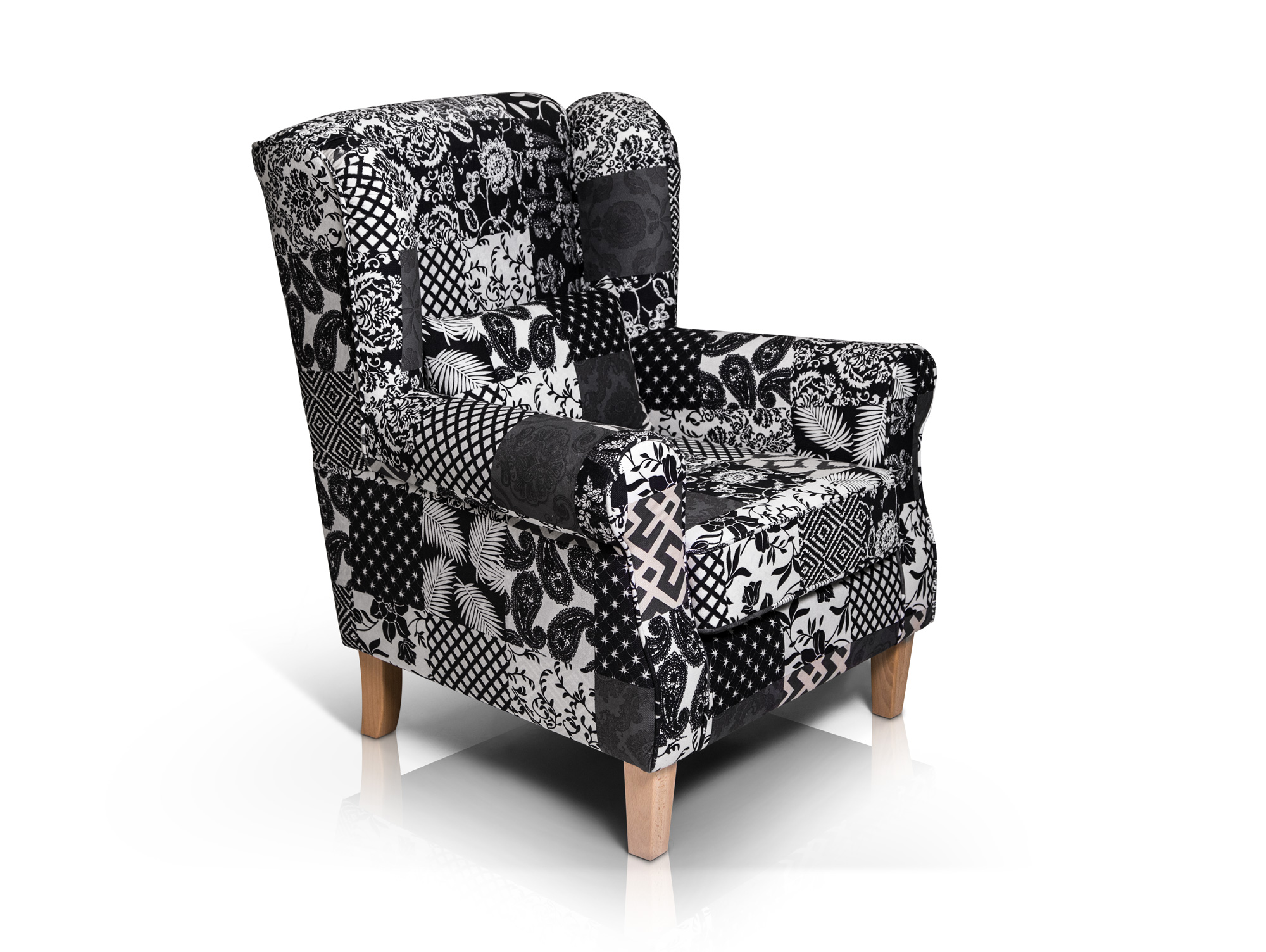 Ohrensessel Patchwork Mit Hocker Willy Ohrensessel 43 Hocker Patchwork Schwarz
