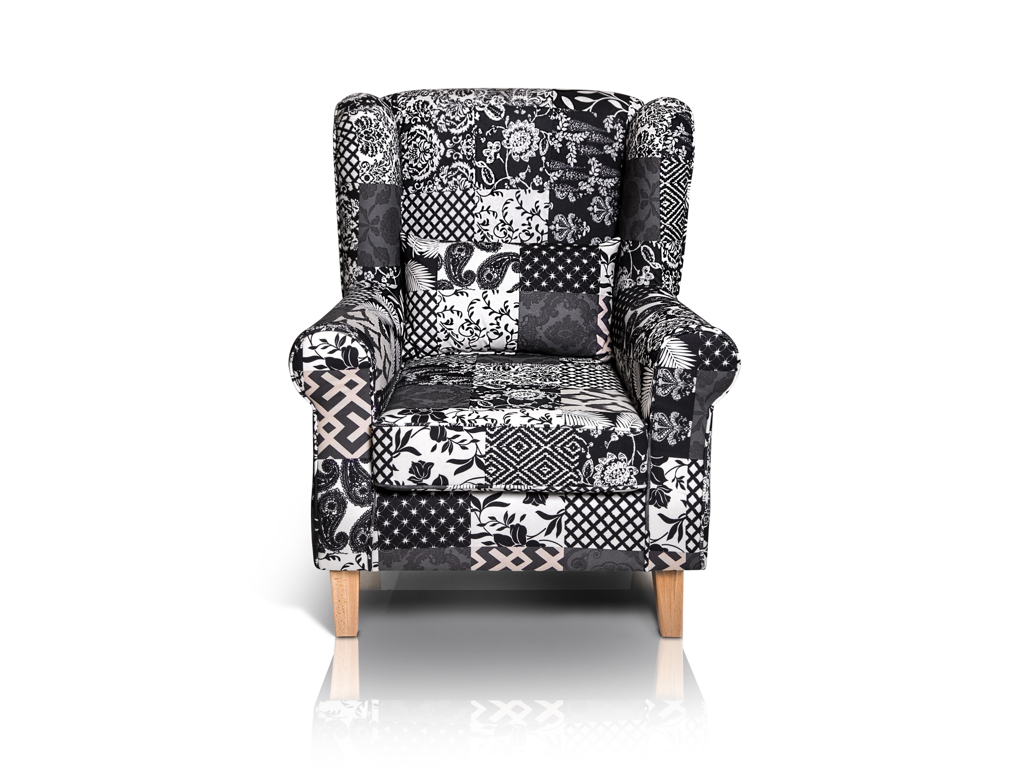 Patchwork Sessel Willy Ohrensessel Patchwork Schwarz