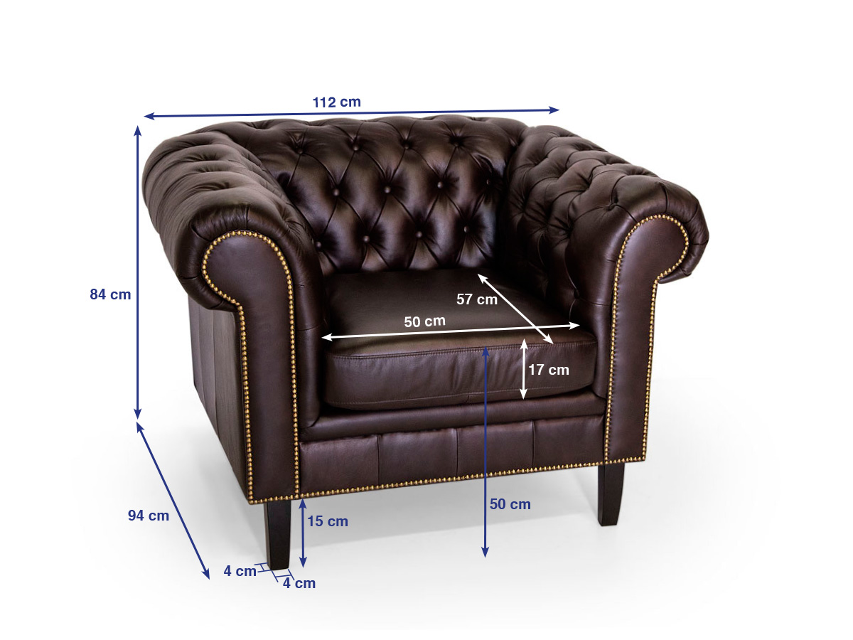 Sessel Chesterfield Chesterfield Sessel Santos Echtleder Braun
