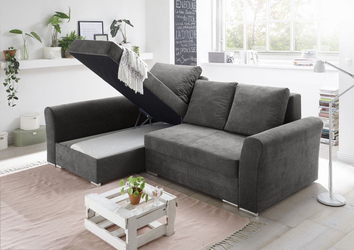 Ecksofa Couch Schlafcouch Schlafsofa Braun Schwarz Pu Topper L Form Universell
