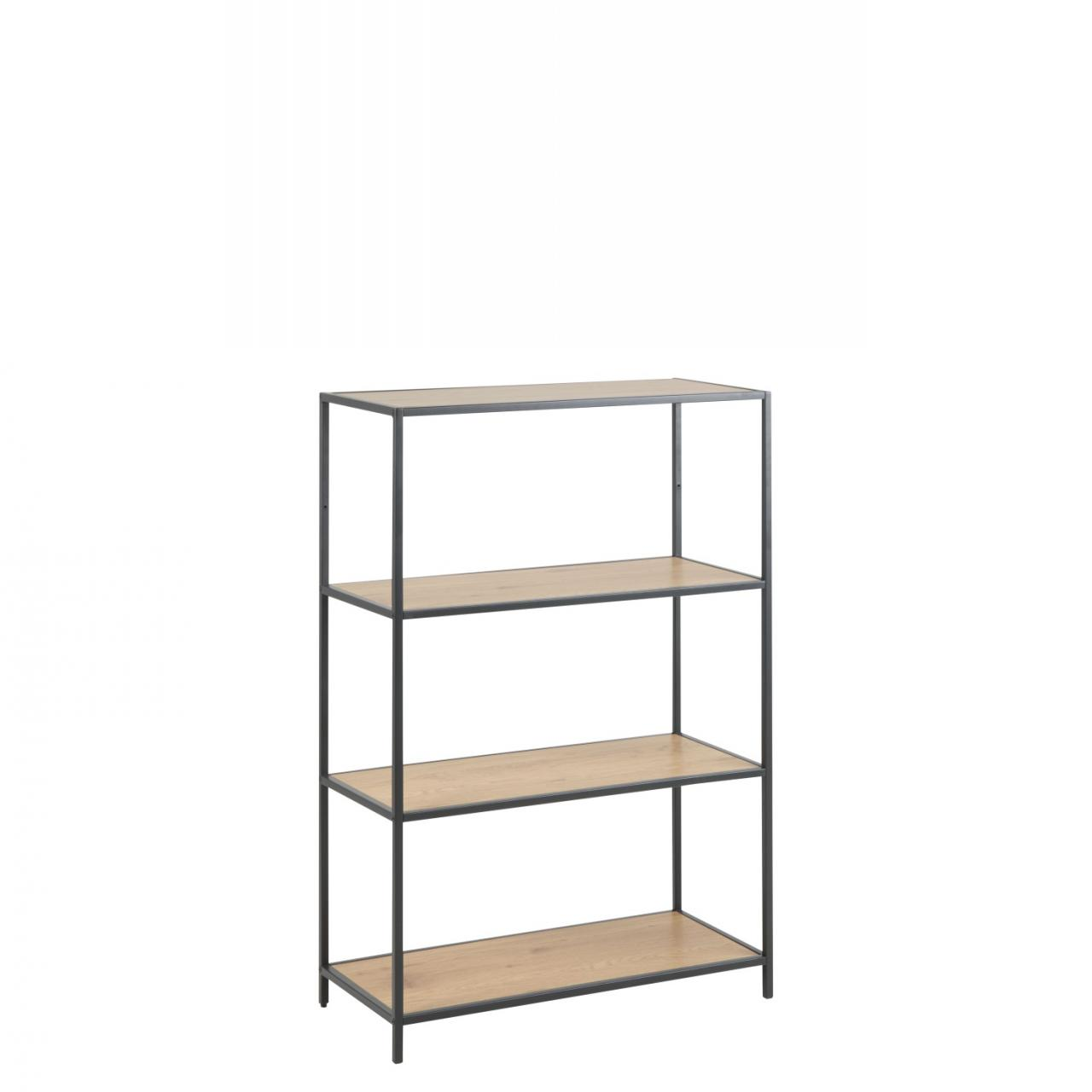 Metall Regal Eiche Bücherregal Seaford 75966 Wildeiche Nb Metall Schwarz 2 Böden Mdf Regal