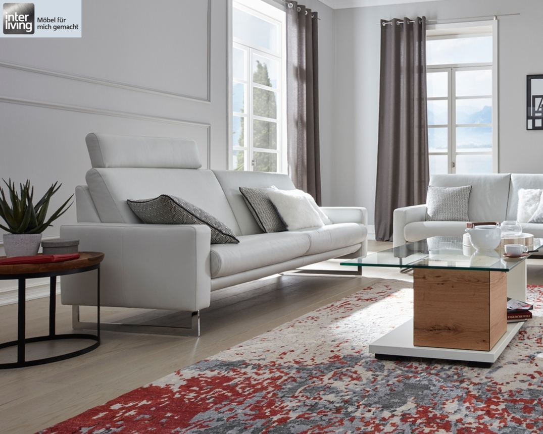 2 Er Sofa Leger Interliving 4001 In Leder Z 73 43 Cream White Sofas Möbel Turflon Online Shop