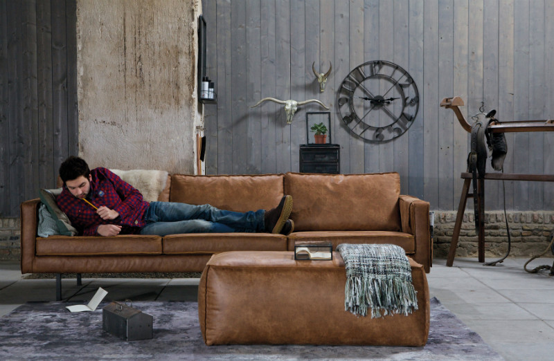 Küche Sofa Bank Sofa 3 Sitzer Leder Be Pure Home Braun - Couch Bei