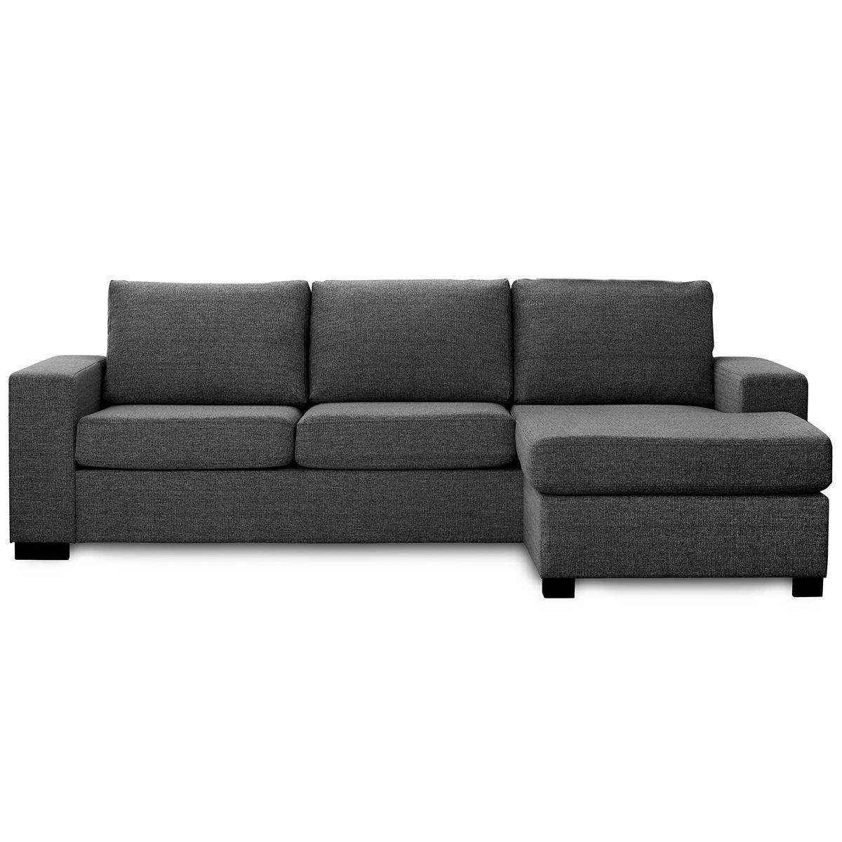 Billige Chaiselong Sofa Chaiselong Sofa Mørkgrå Vendbar Detroit