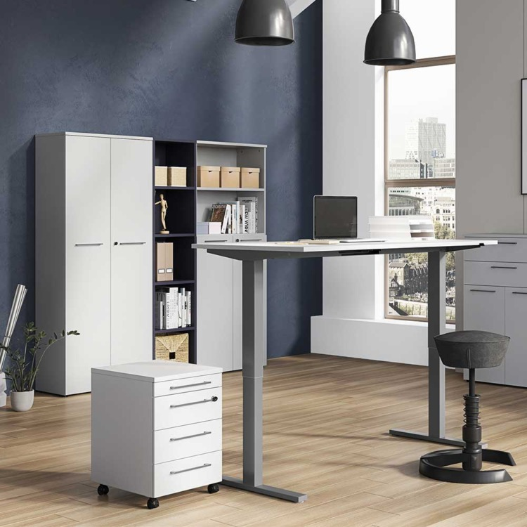 Büromöbel Komplettset Büromöbel Komplettset In Grau Und Weiß Made In Germany (4 ...