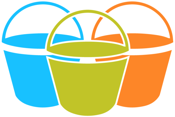 Graphic: three buckets, one blue, one green, and one orange