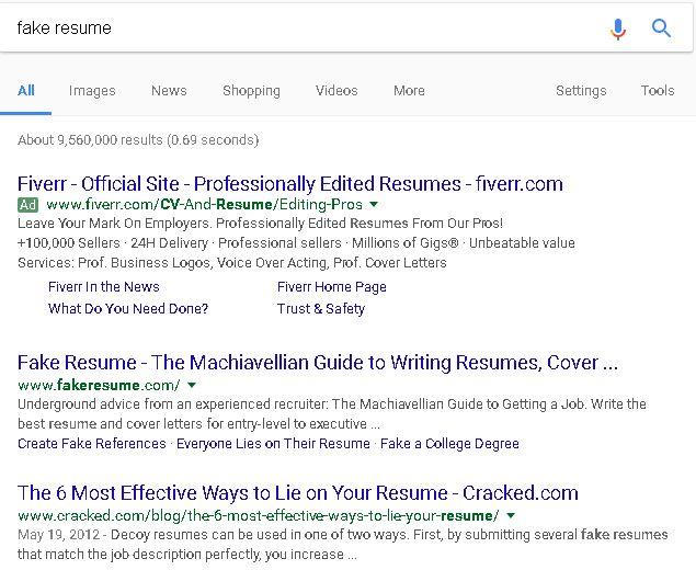 Fake it till you make it?\ - fake resumes