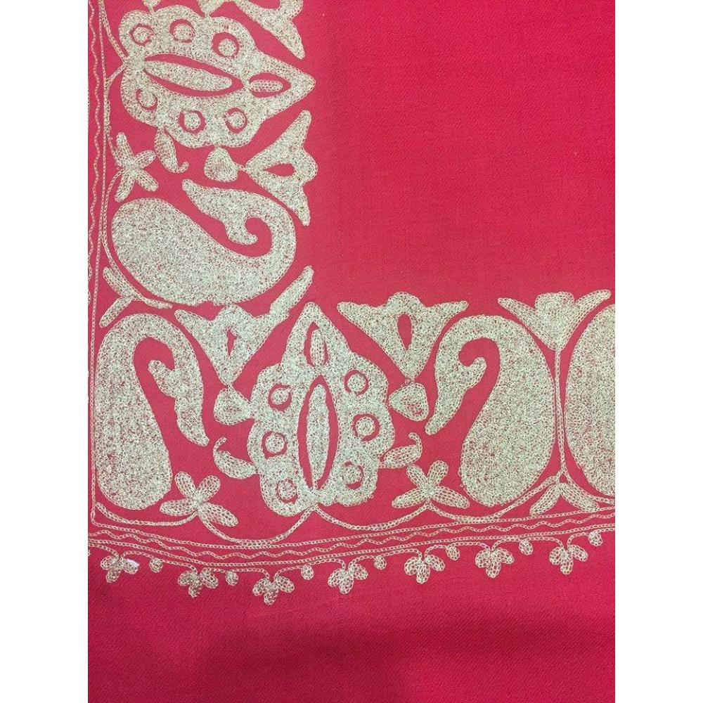 Red Cashmere Pashmina Uk Light Cool Red Color Top Daur Hand Embroidered Zarri