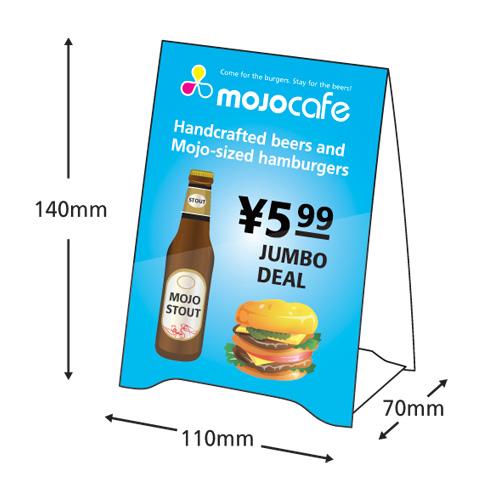 Table Tent (Matt) Mojoprintjp - tri fold table tent