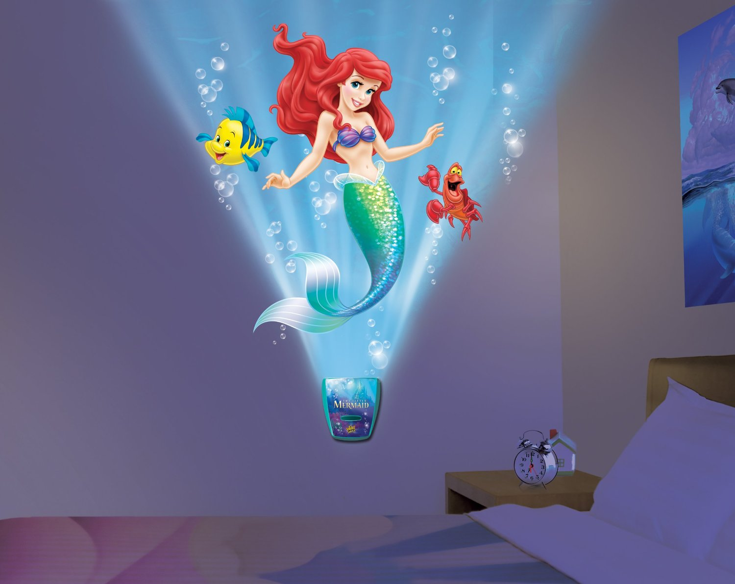 Childrens Wall Night Lights Uncle Milton Wild Walls Little Mermaid Light And Sound