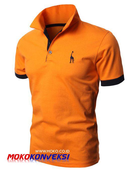 Kaos Berkerah Bordir Orange Abu Misty Desain Polos