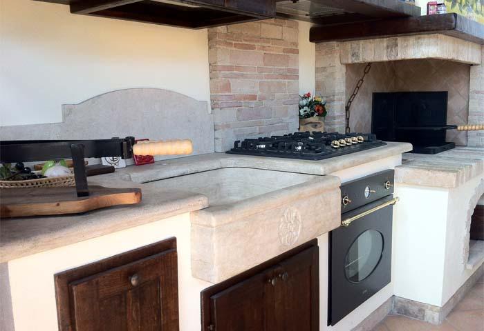 Caminetti Moderni Per Esterno   Cucina In Muratura Con Caminetto ...